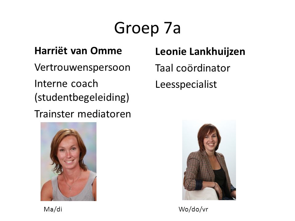 Groep 7a Leonie Lankhuijzen Taal coördinator Leesspecialist