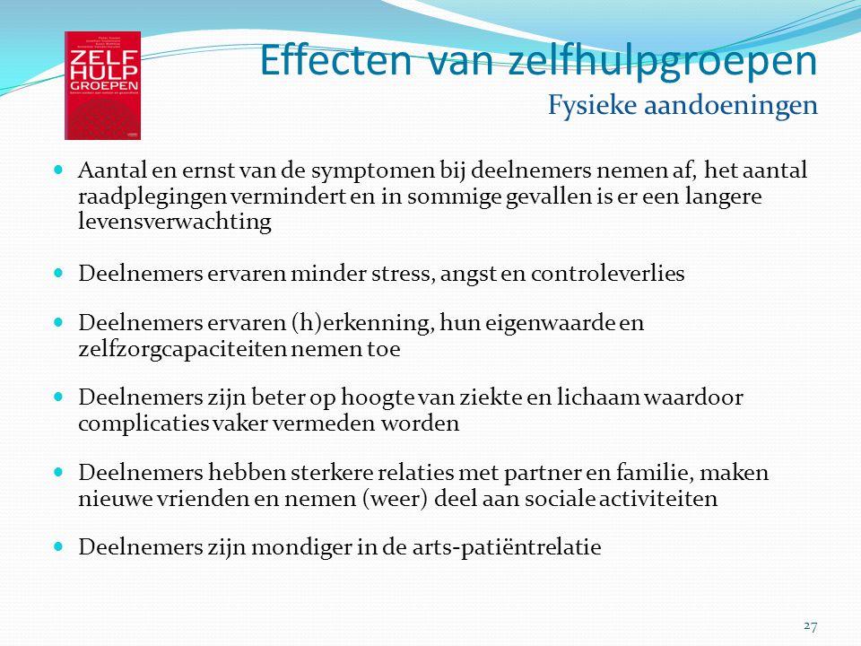 Effecten van zelfhulpgroepen Fysieke aandoeningen