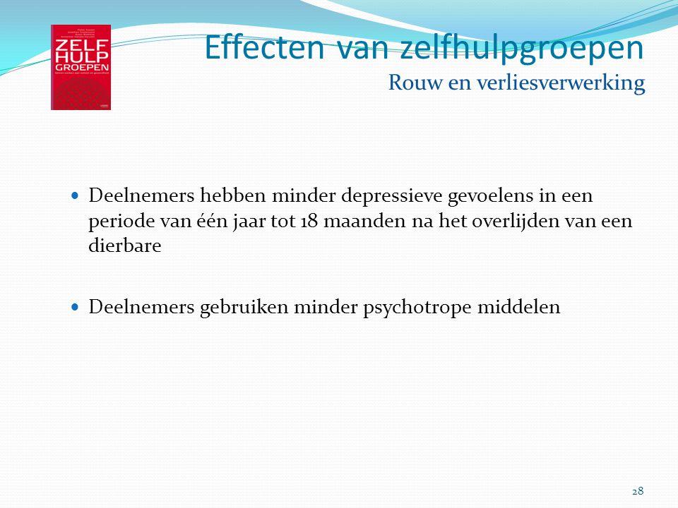 Effecten van zelfhulpgroepen Rouw en verliesverwerking