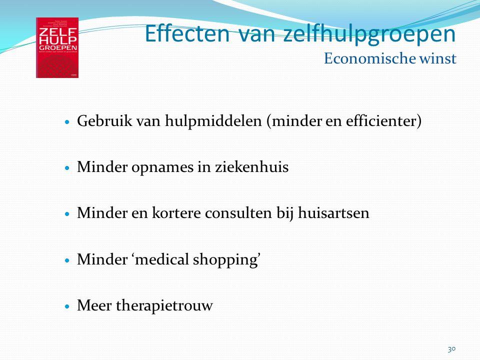 Effecten van zelfhulpgroepen Economische winst