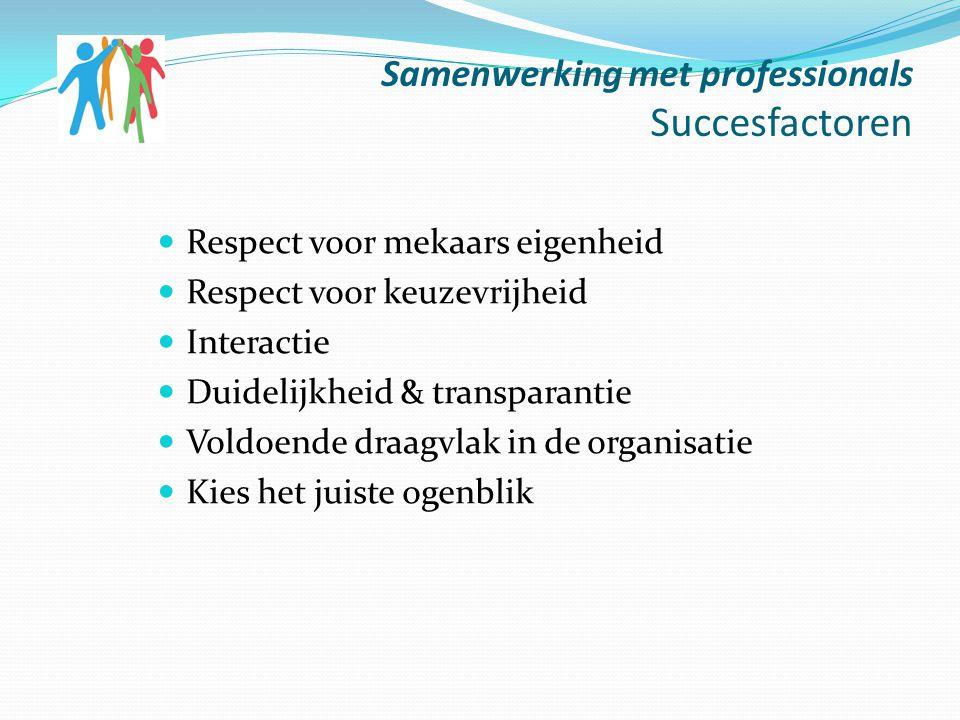 Samenwerking met professionals Succesfactoren