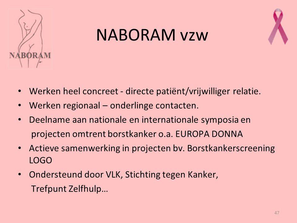 NABORAM vzw Werken heel concreet - directe patiënt/vrijwilliger relatie. Werken regionaal – onderlinge contacten.