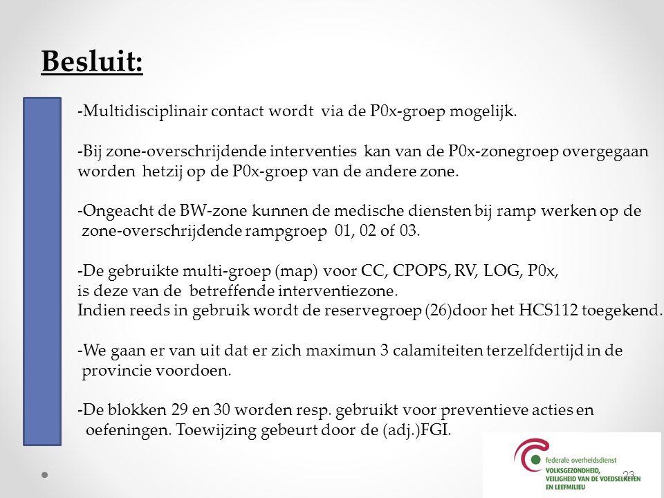 Besluit: -Multidisciplinair contact wordt via de P0x-groep mogelijk.