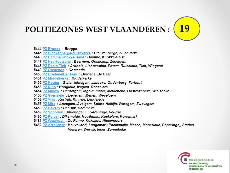 POLITIEZONES WEST VLAANDEREN : 19
