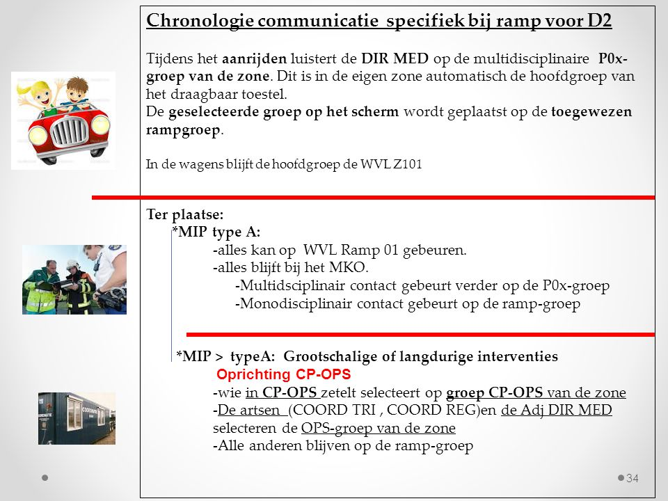 Chronologie communicatie specifiek bij ramp voor D2