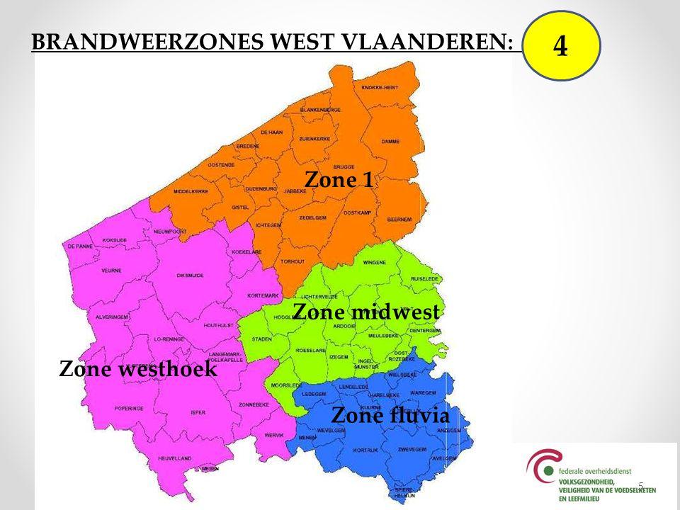 4 BRANDWEERZONES WEST VLAANDEREN: 4 Zone 1 Zone midwest Zone westhoek