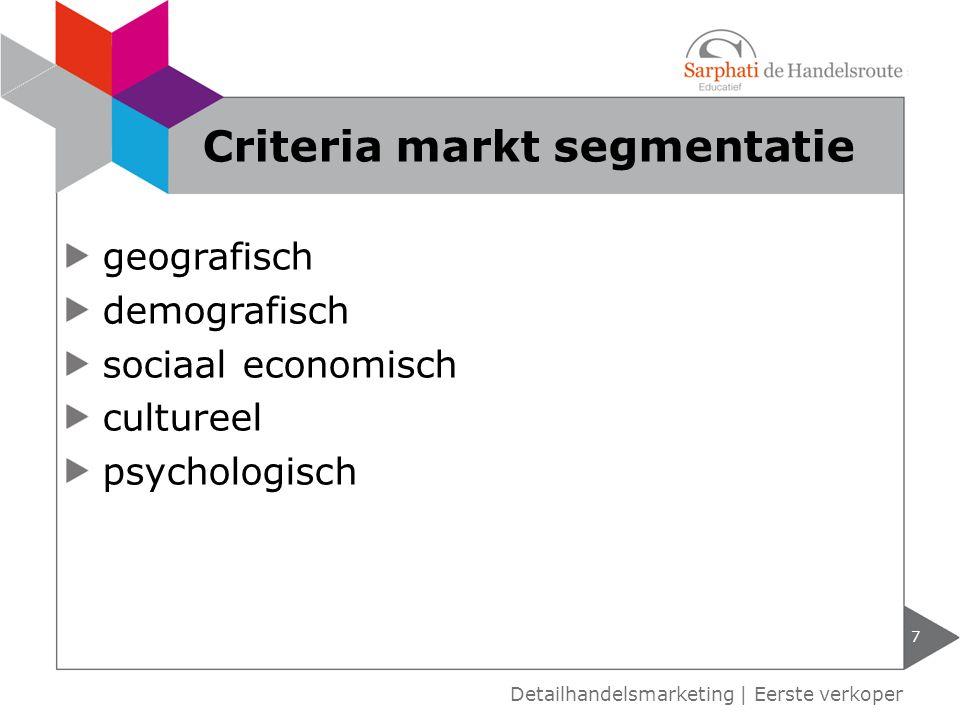 Criteria markt segmentatie