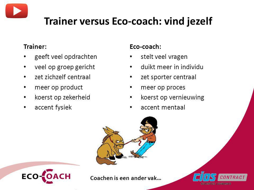 Trainer versus Eco-coach: vind jezelf