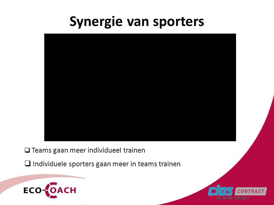 Synergie van sporters Individuele sporters gaan meer in teams trainen