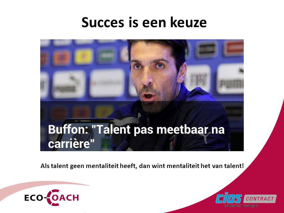 Succes is een keuze Als talent geen mentaliteit heeft, dan wint mentaliteit het van talent!