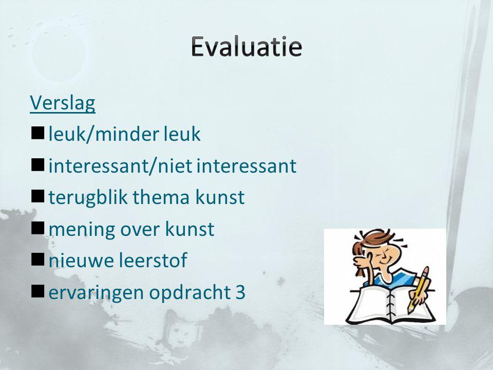 Evaluatie Verslag leuk/minder leuk interessant/niet interessant