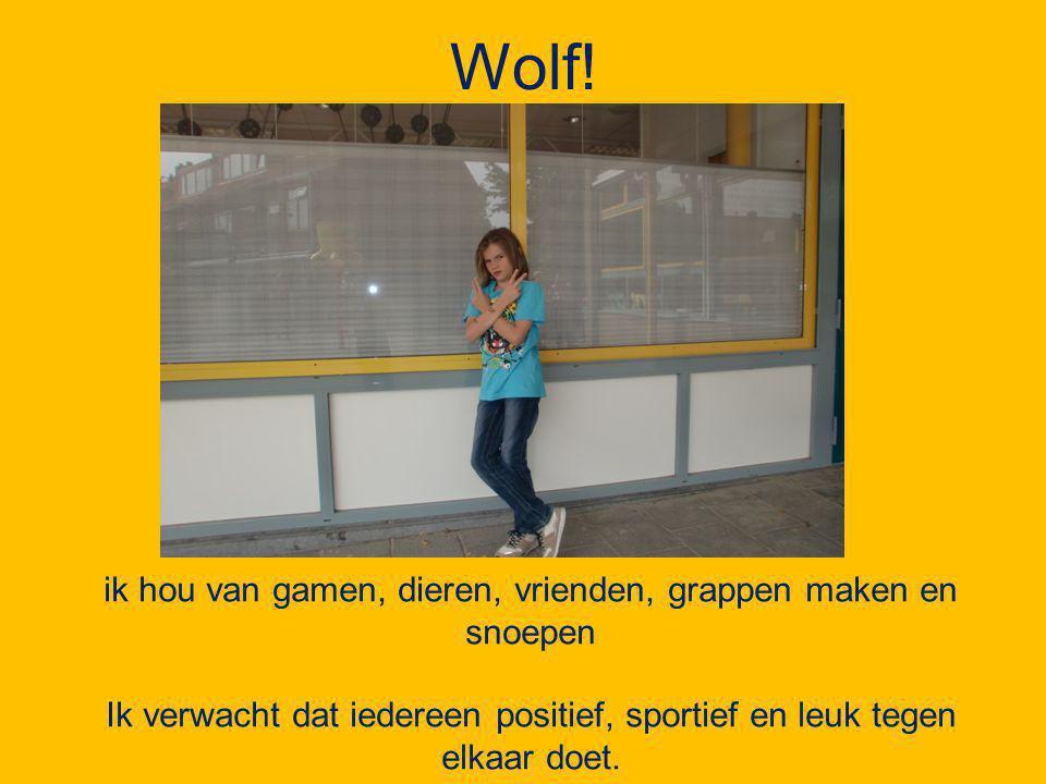 Wolf! ik hou van gamen, dieren, vrienden, grappen maken en snoepen