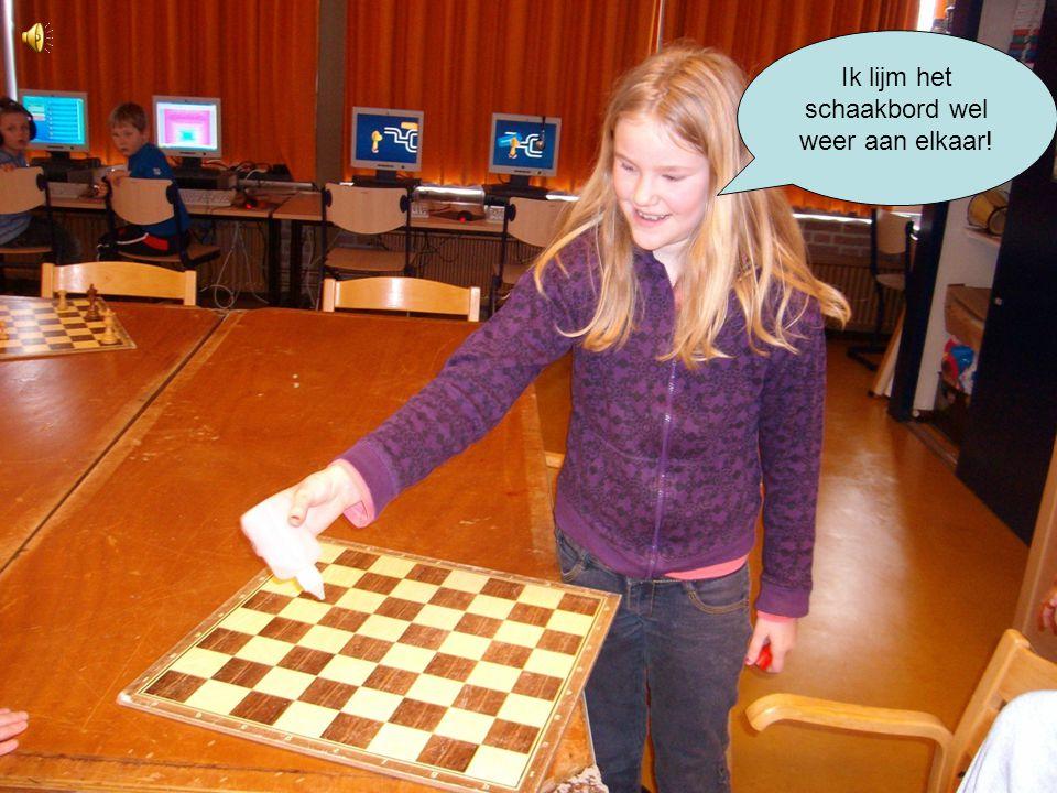 Ik lijm het schaakbord wel weer aan elkaar!