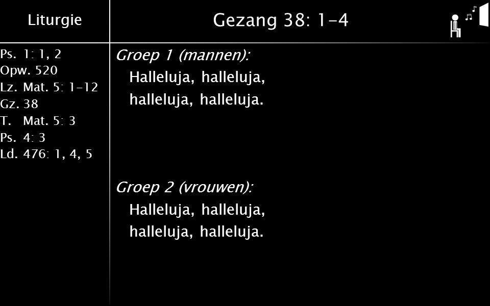 Gezang 38: 1-4 Groep 1 (mannen): Halleluja, halleluja, halleluja, halleluja. Groep 2 (vrouwen):