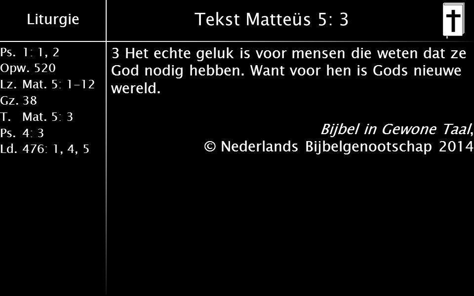 Tekst Matteüs 5: 3