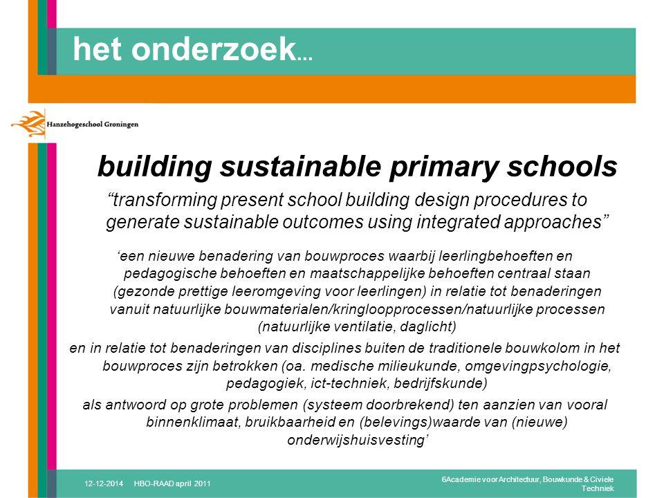 het onderzoek... building sustainable primary schools.