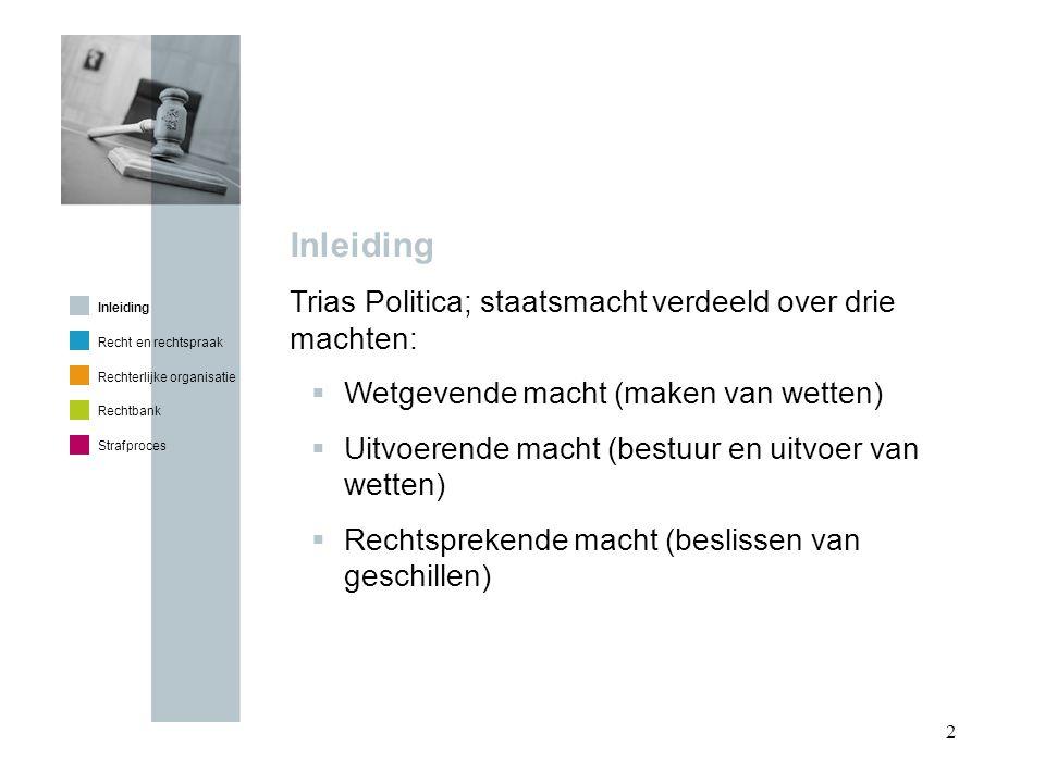 Inleiding Trias Politica; staatsmacht verdeeld over drie machten: