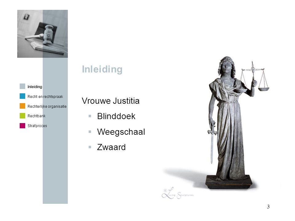 Inleiding Vrouwe Justitia Blinddoek Weegschaal Zwaard Inleiding