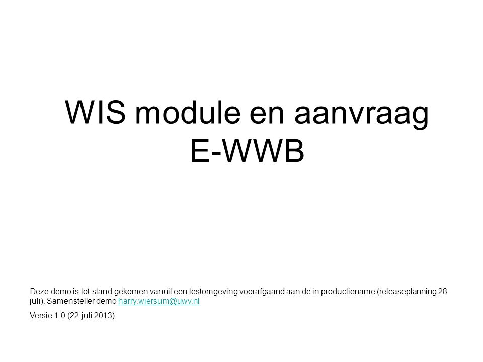 WIS module en aanvraag E-WWB