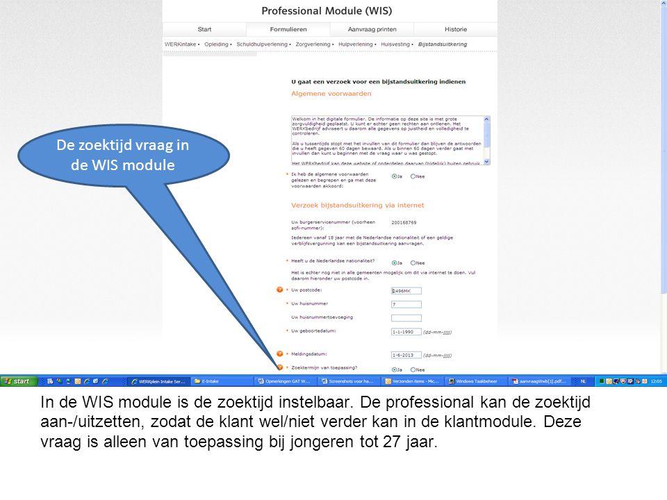 De zoektijd vraag in de WIS module
