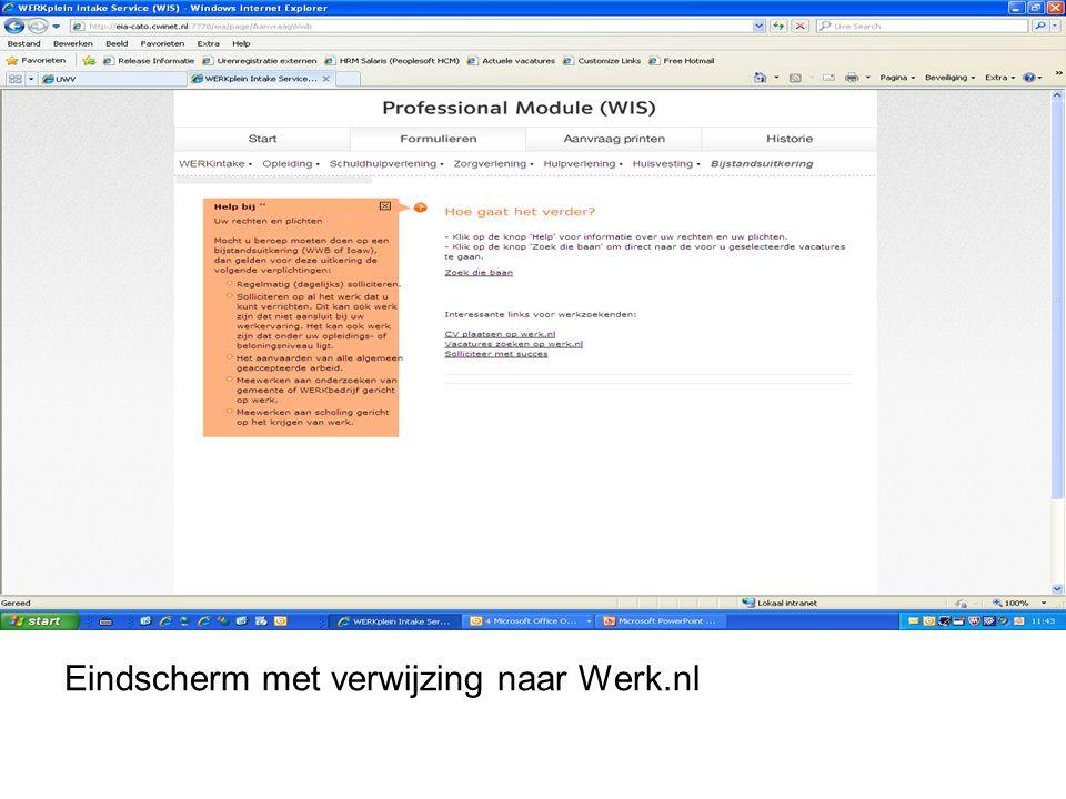 Eindscherm met verwijzing naar Werk.nl