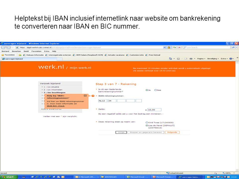 Helptekst bij IBAN inclusief internetlink naar website om bankrekening te converteren naar IBAN en BIC nummer.
