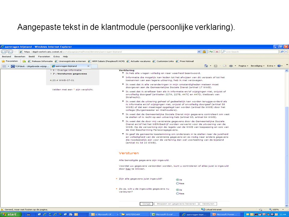 Aangepaste tekst in de klantmodule (persoonlijke verklaring).