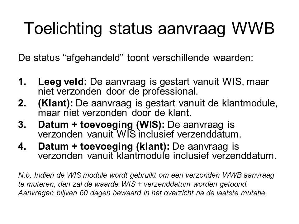 Toelichting status aanvraag WWB