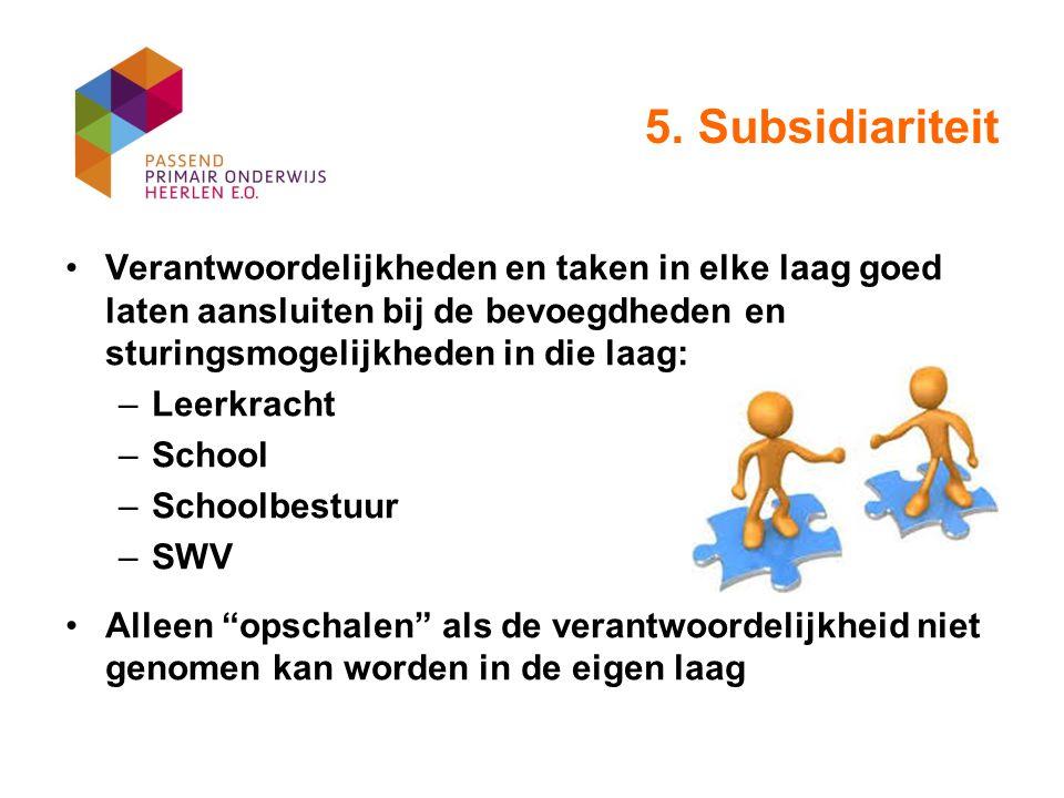 5. Subsidiariteit Verantwoordelijkheden en taken in elke laag goed laten aansluiten bij de bevoegdheden en sturingsmogelijkheden in die laag: