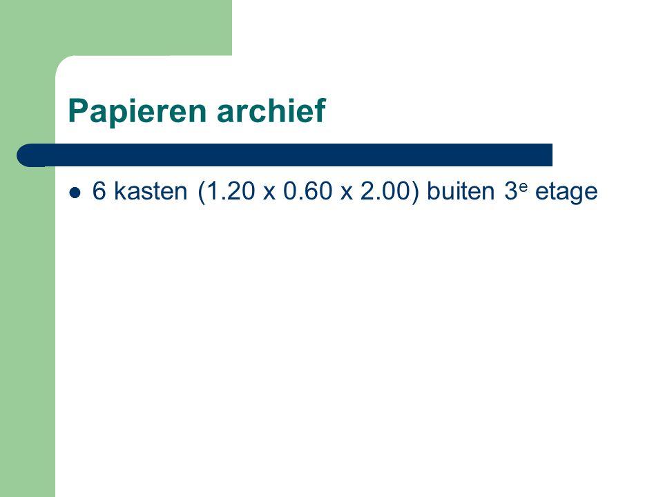 Papieren archief 6 kasten (1.20 x 0.60 x 2.00) buiten 3e etage