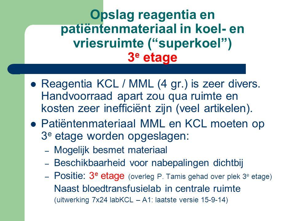 Opslag reagentia en patiëntenmateriaal in koel- en vriesruimte ( superkoel ) 3e etage
