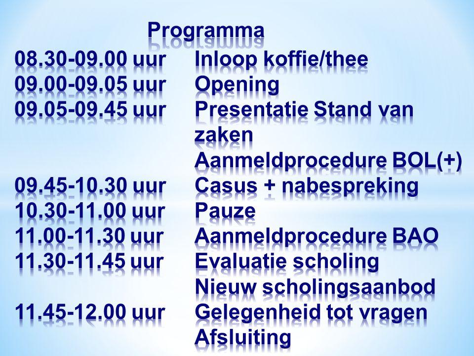 Programma 08. 30-09. 00 uur. Inloop koffie/thee 09. 00-09. 05 uur