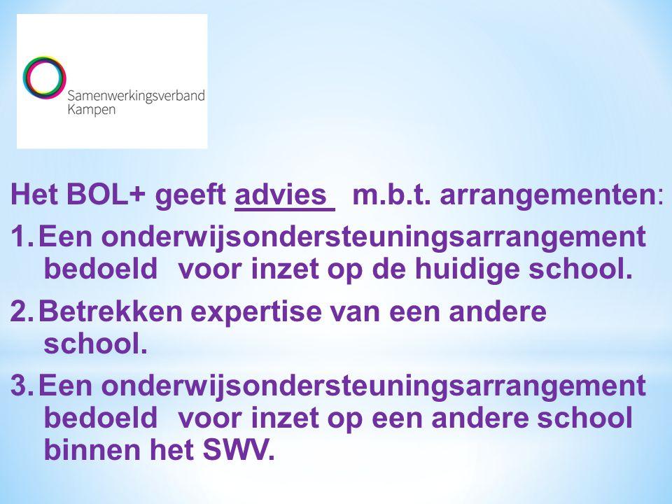 Het BOL+ geeft advies m. b. t. arrangementen: 1