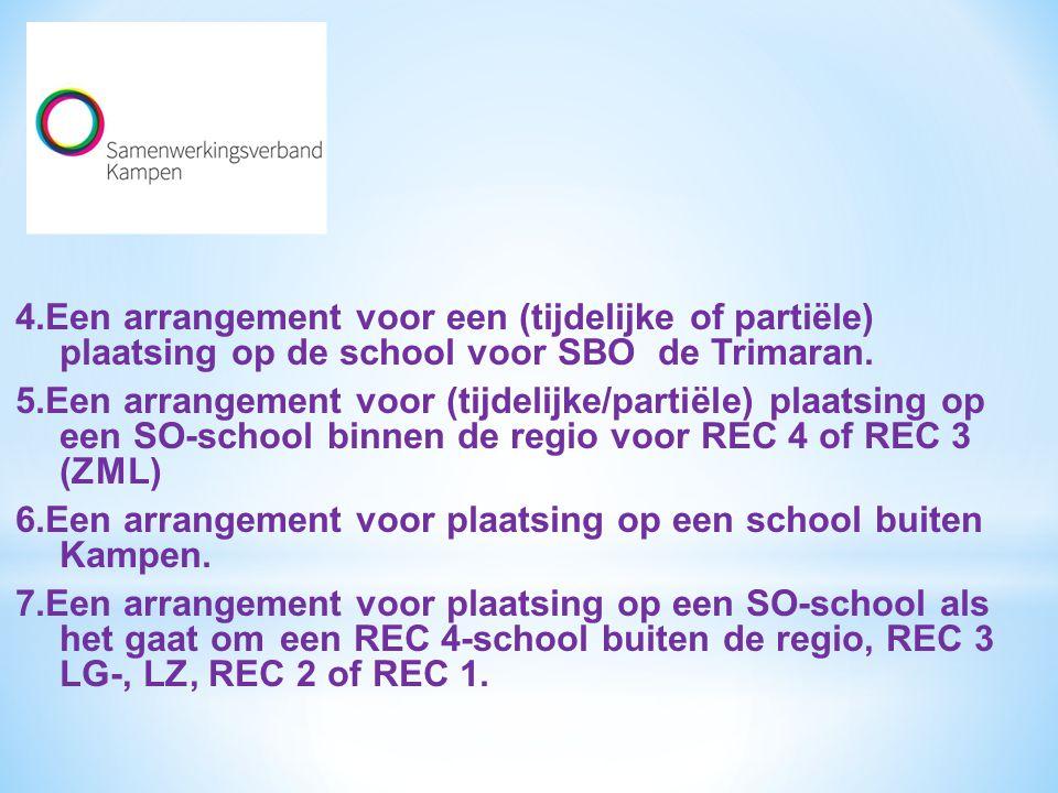 6.Een arrangement voor plaatsing op een school buiten Kampen.