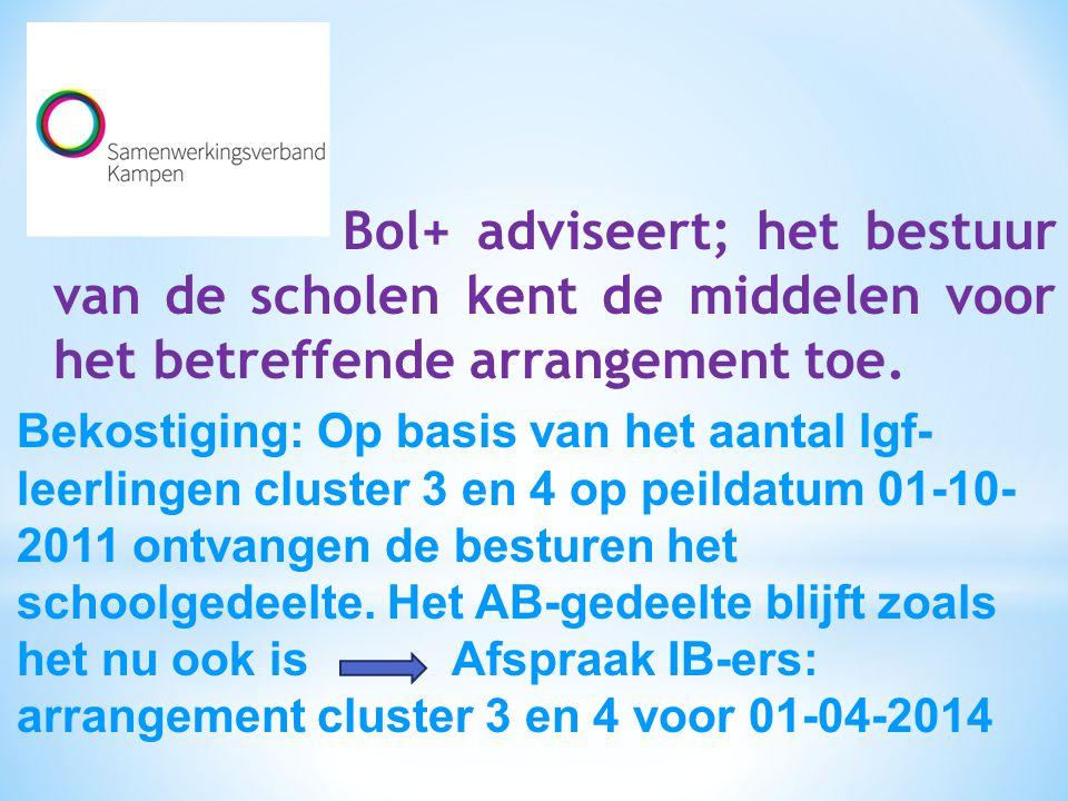 Bol+ adviseert; het bestuur van de scholen kent de middelen voor het betreffende arrangement toe.