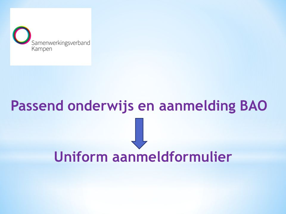 Uniform aanmeldformulier