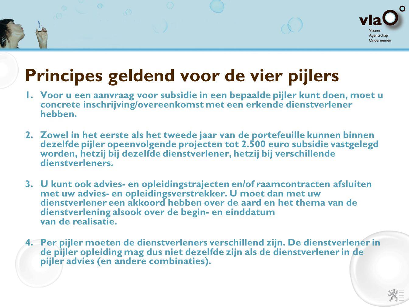 Principes geldend voor de vier pijlers