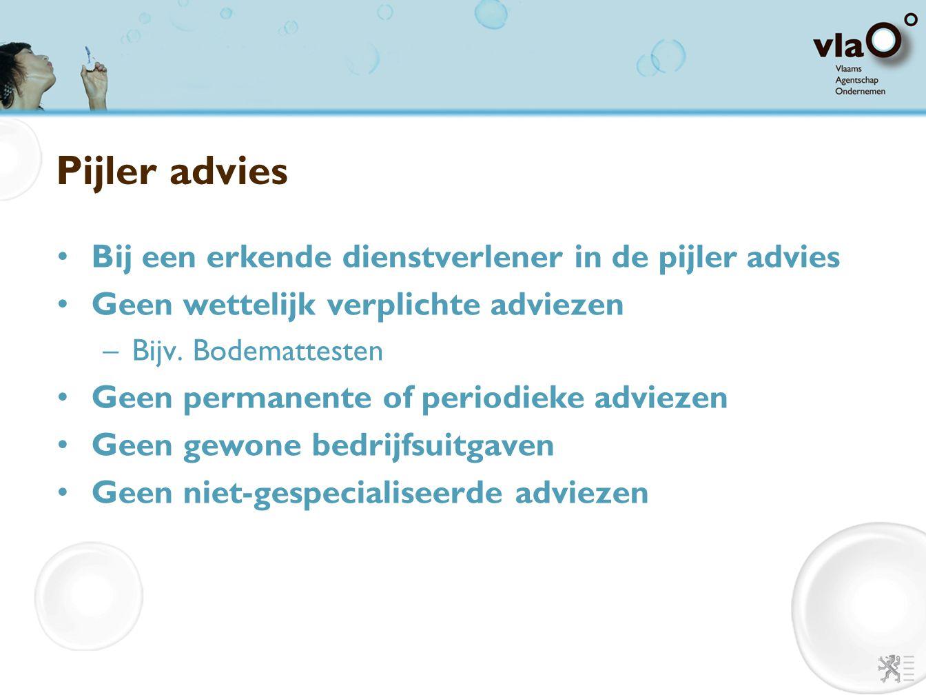 Pijler advies Bij een erkende dienstverlener in de pijler advies