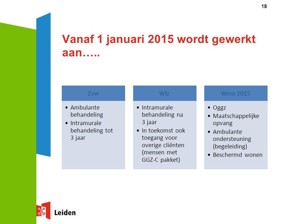 Vanaf 1 januari 2015 wordt gewerkt aan…..