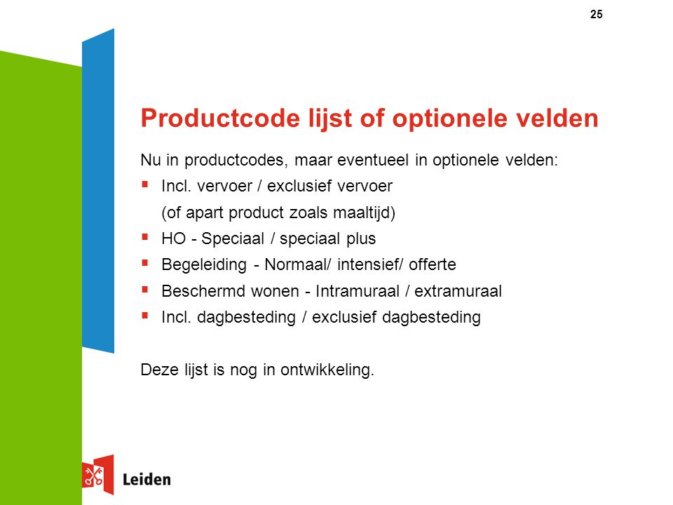 Productcode lijst of optionele velden