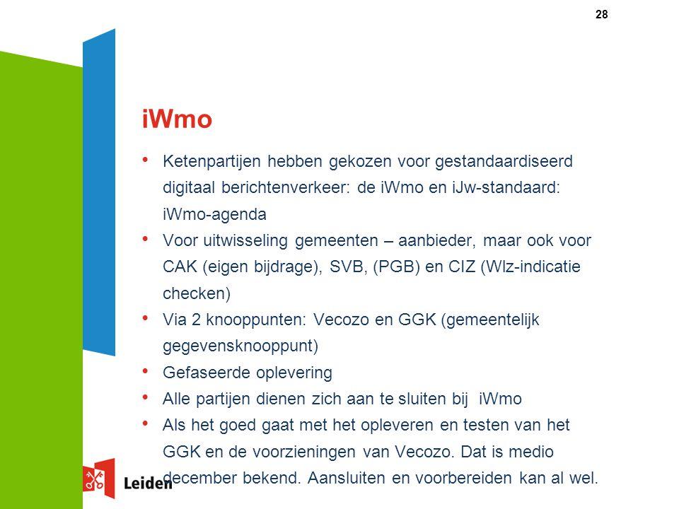 iWmo Ketenpartijen hebben gekozen voor gestandaardiseerd digitaal berichtenverkeer: de iWmo en iJw-standaard: iWmo-agenda.