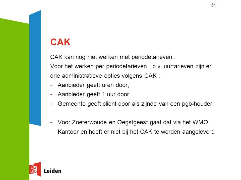 CAK CAK kan nog niet werken met periodetarieven..