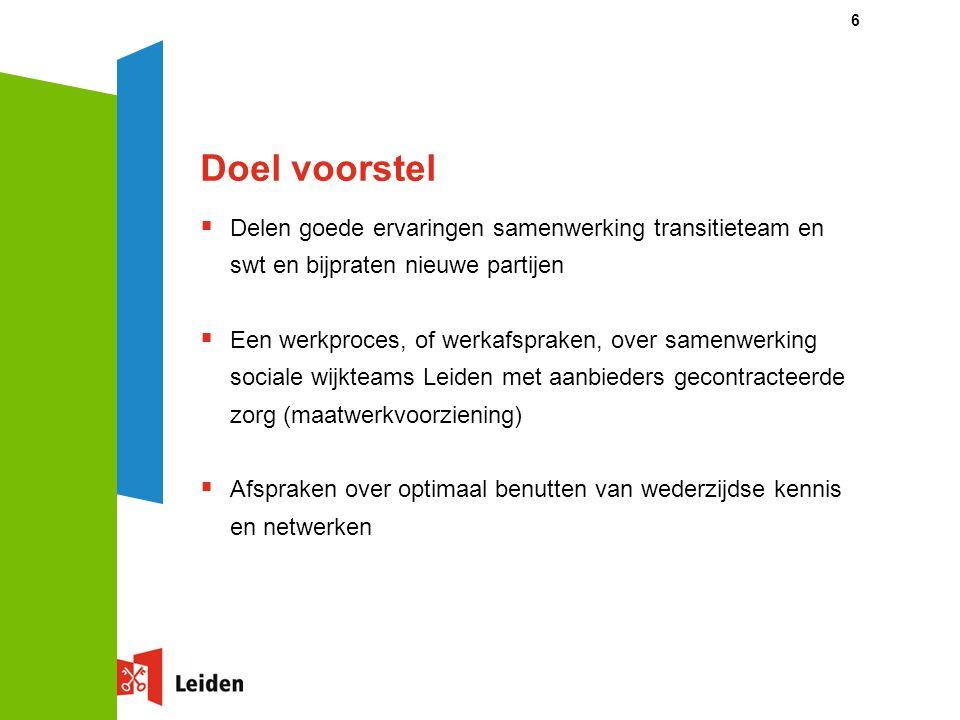 Doel voorstel Delen goede ervaringen samenwerking transitieteam en swt en bijpraten nieuwe partijen.