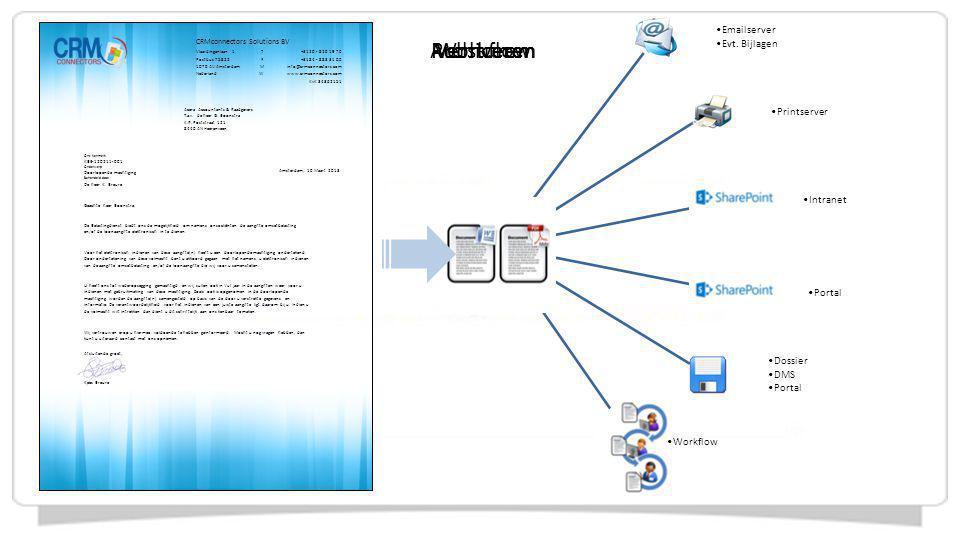 Workflow Versturen Publiceren Archiveren Emailserver Evt. Bijlagen