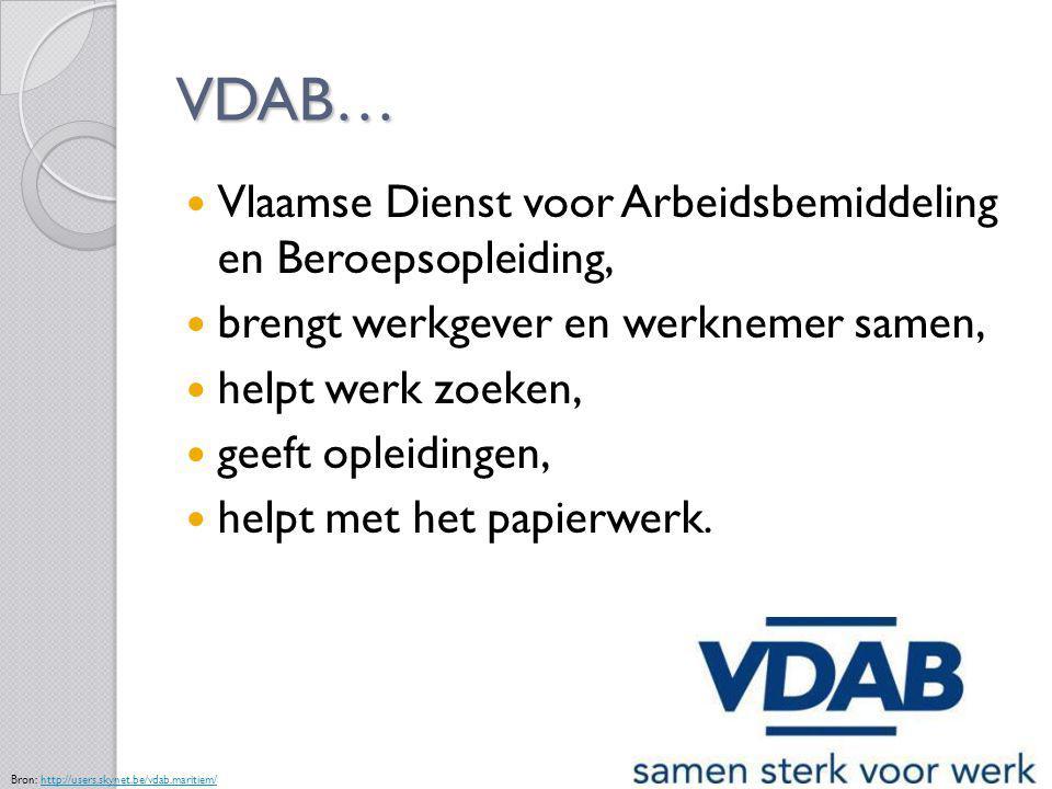 VDAB… Vlaamse Dienst voor Arbeidsbemiddeling en Beroepsopleiding,