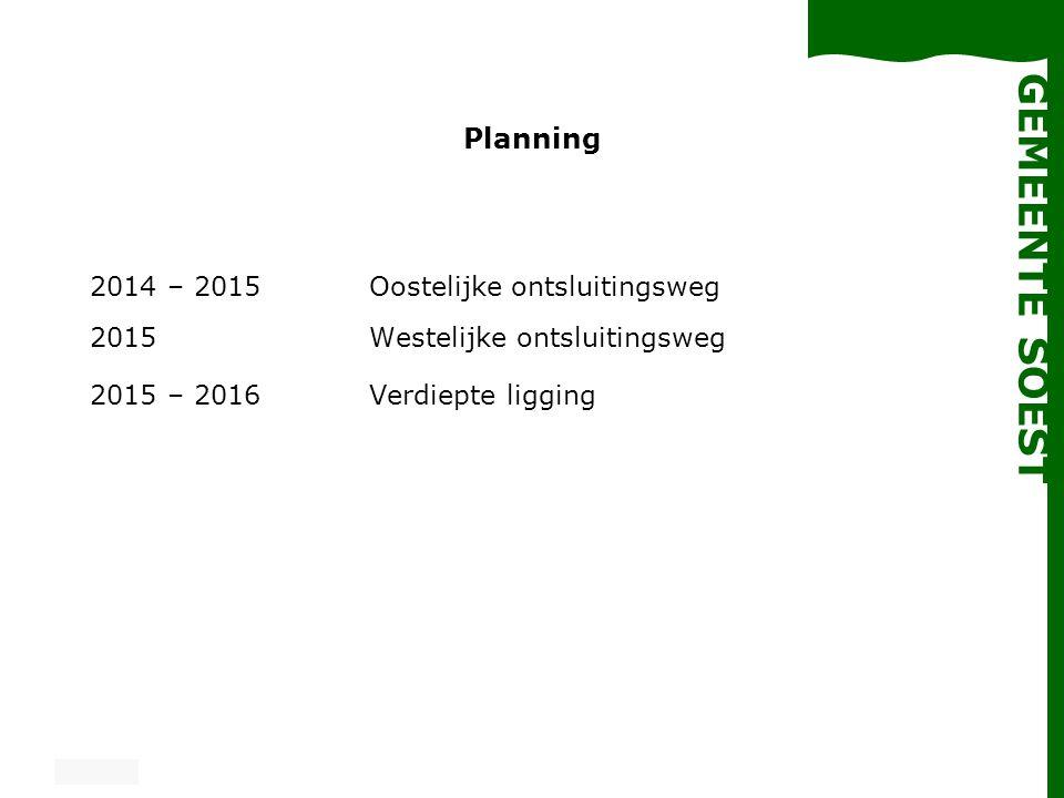 Planning 2014 – 2015 Oostelijke ontsluitingsweg 2015 Westelijke ontsluitingsweg.