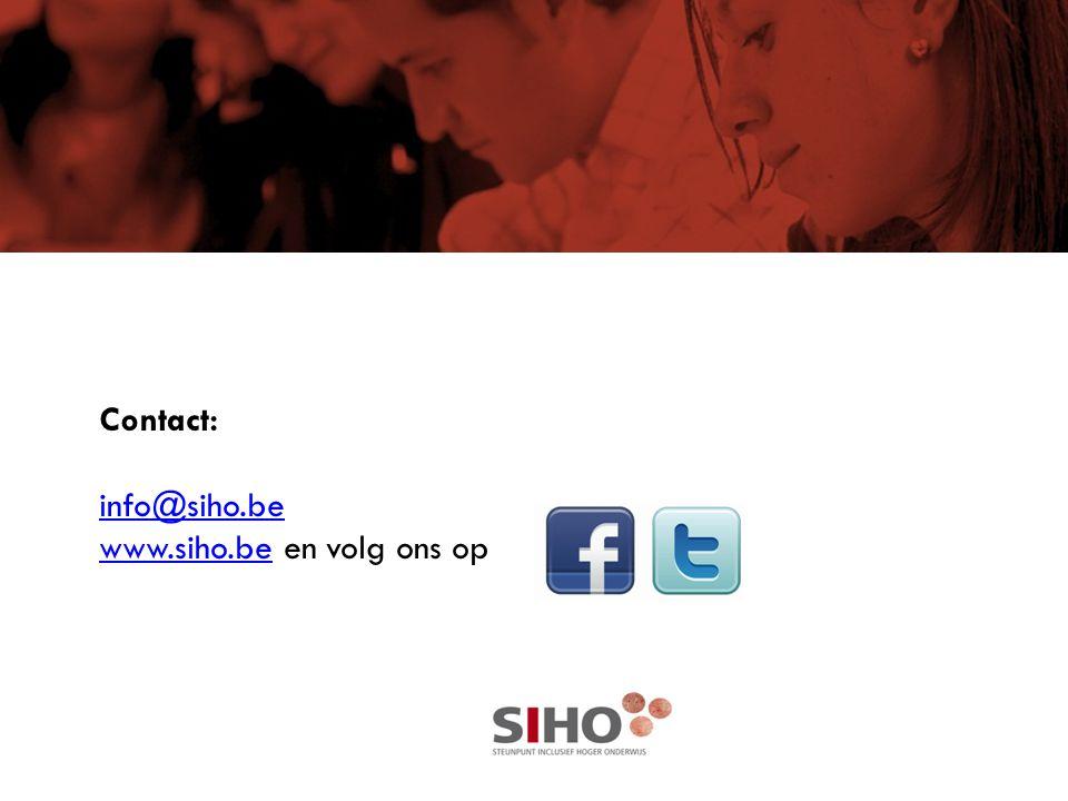 Contact: info@siho.be www.siho.be en volg ons op