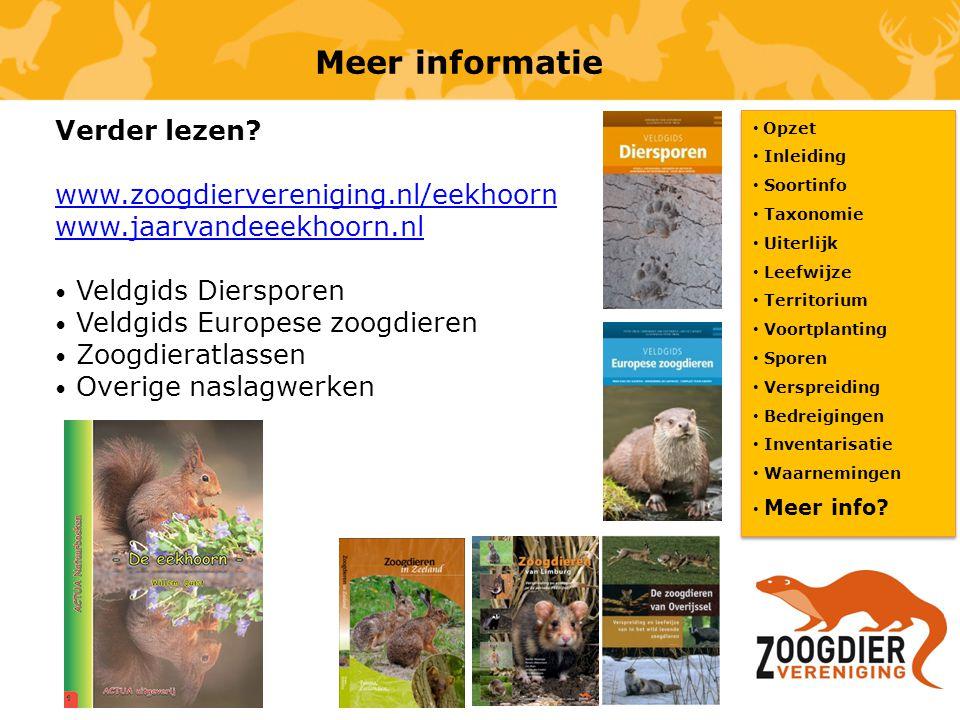 Meer informatie Verder lezen www.zoogdiervereniging.nl/eekhoorn