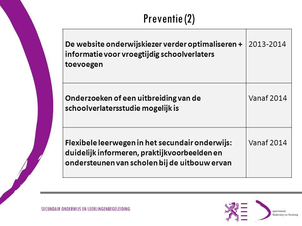 Preventie (2) De website onderwijskiezer verder optimaliseren + informatie voor vroegtijdig schoolverlaters toevoegen.