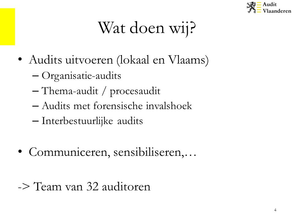 Wat doen wij Audits uitvoeren (lokaal en Vlaams)